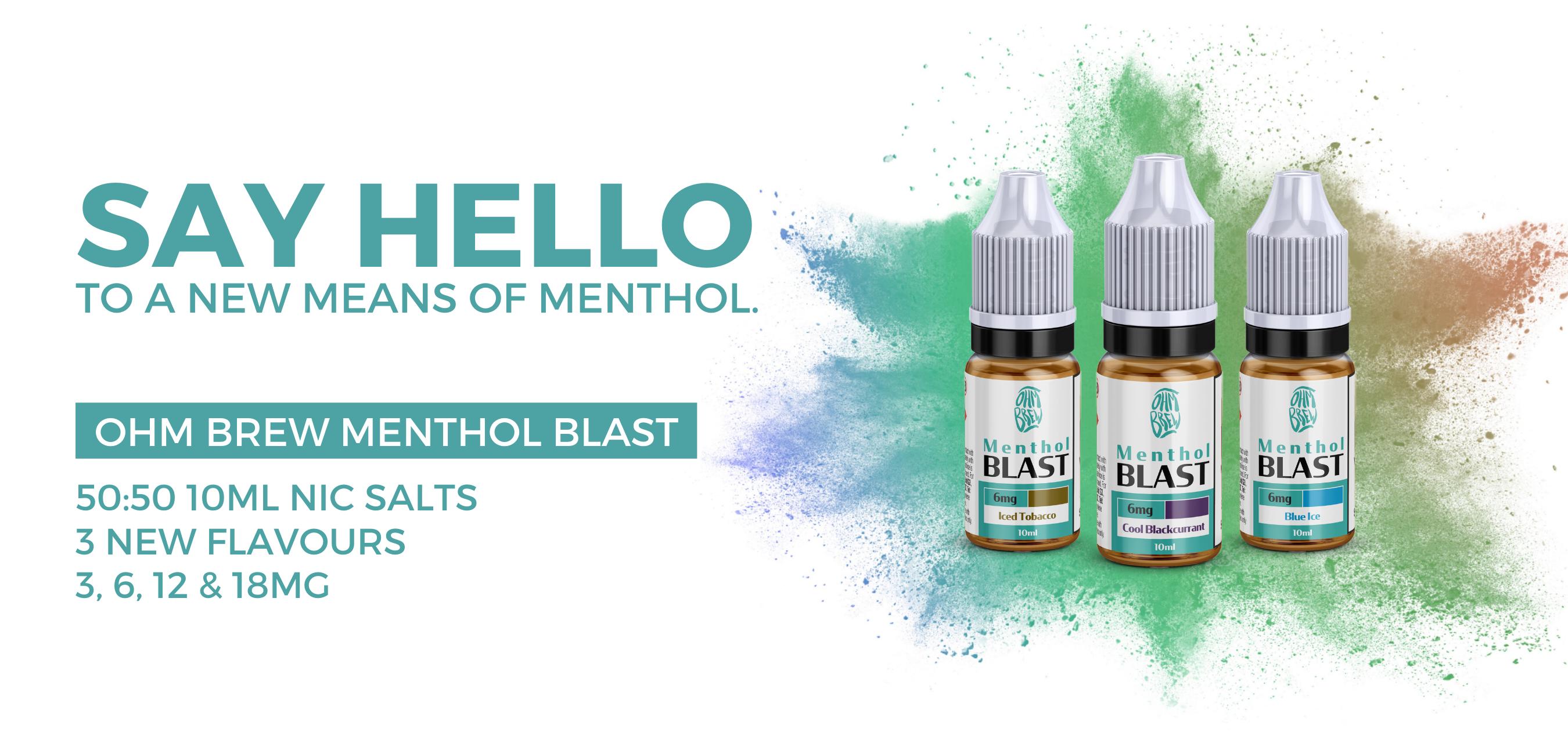 Ohm Brew Menthol Blast. Menthol Nic Salt E-Liquid Product Range Home Page Banner